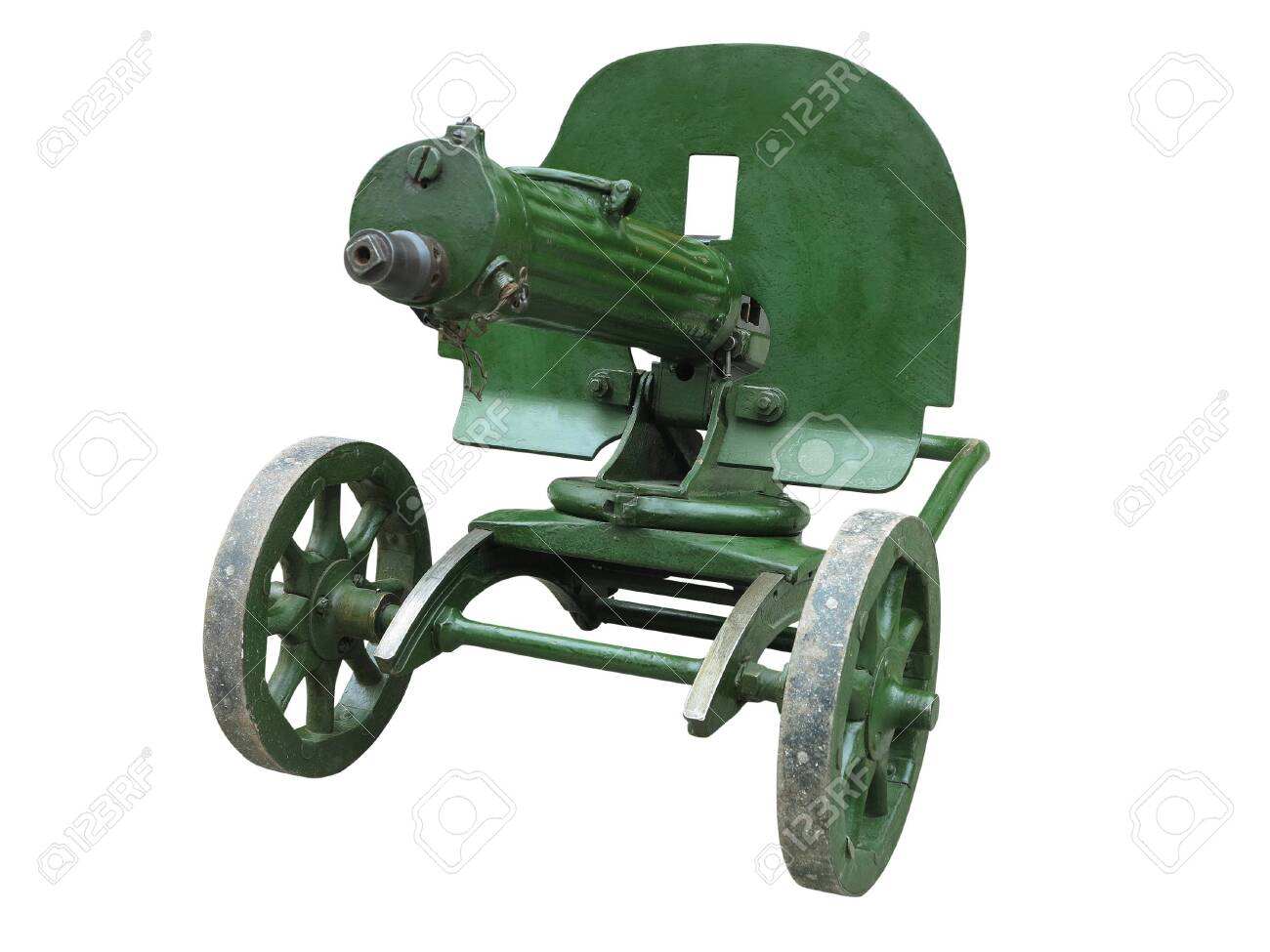Old Green Maxim Machine Gun Isolated Over White Background Stock 1300x975