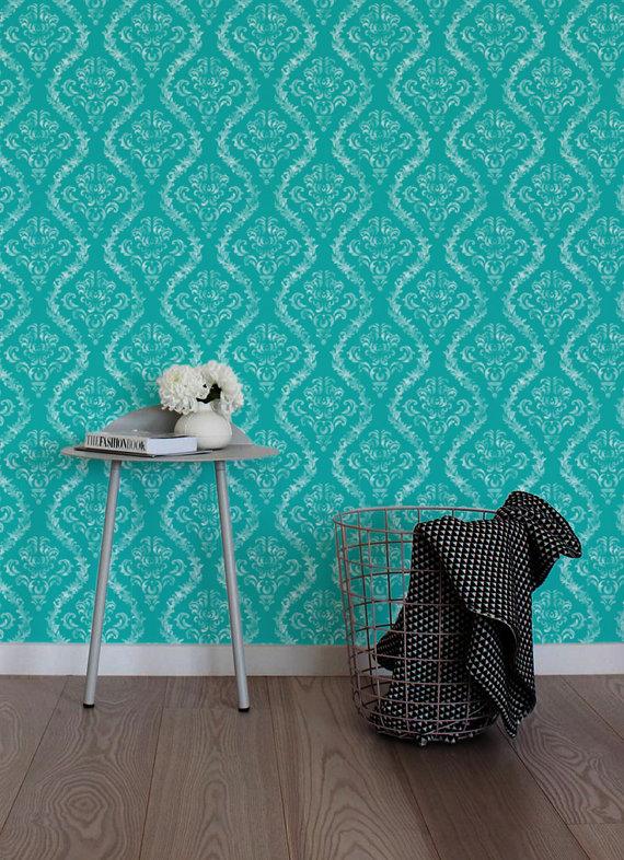 Damask Peel and stick Self adhesive vinyl wallpaper wall decal   100 570x786
