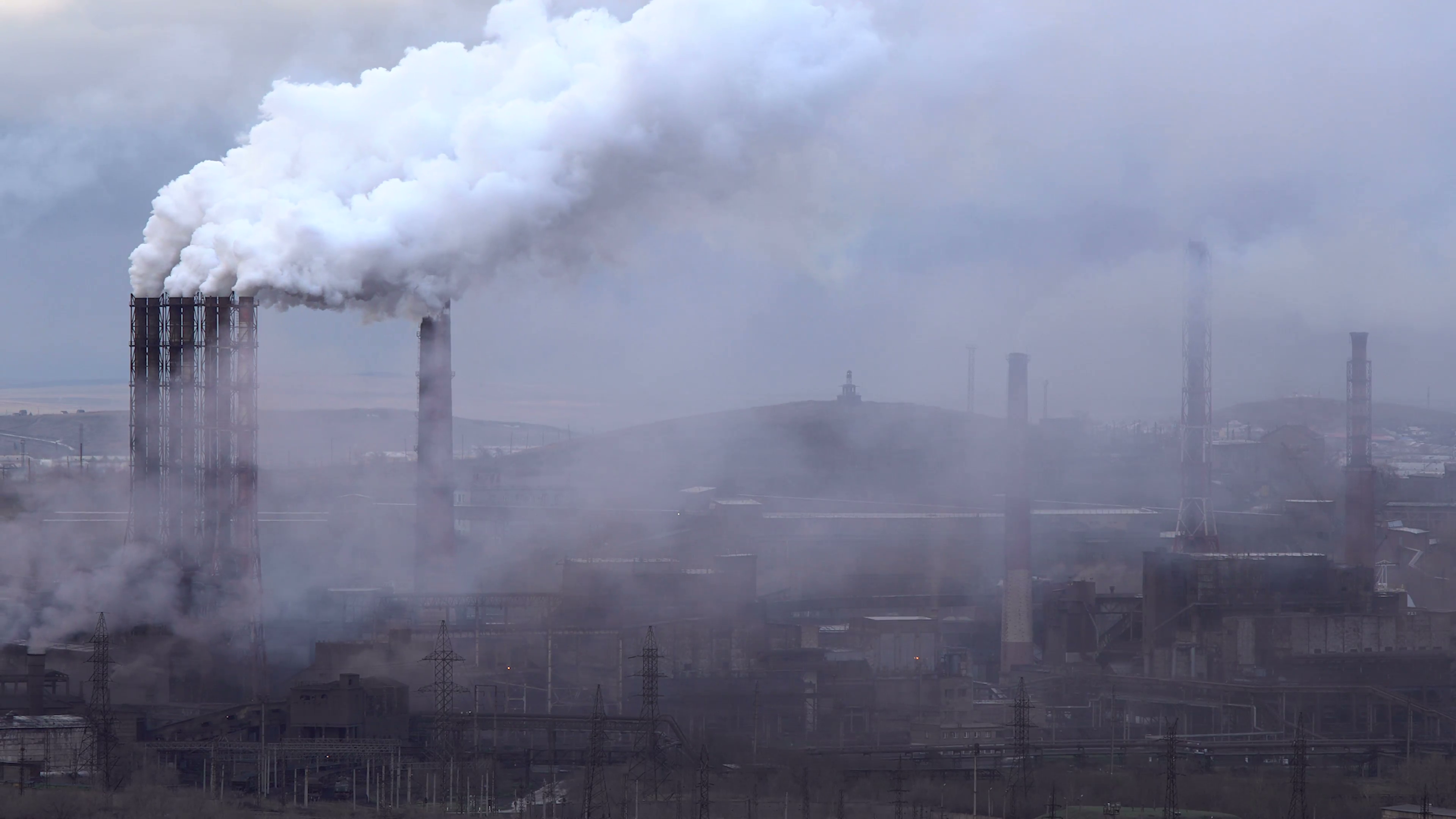 Air Pollution From Industrial Plants Large Plant on the 3840x2160