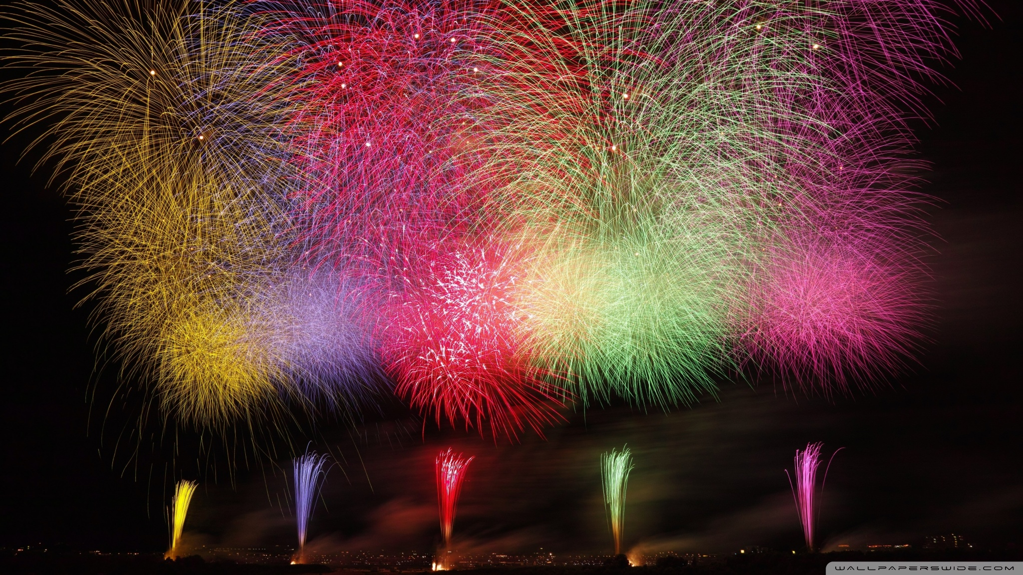 Amazing Fireworks 2020 Ultra HD Desktop Background Wallpaper for 2048x1152