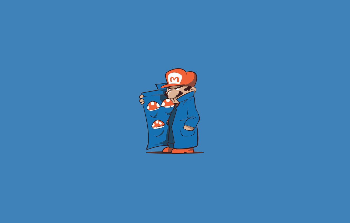 Wallpaper Minimalism The game Style Mushrooms Mario 1332x850