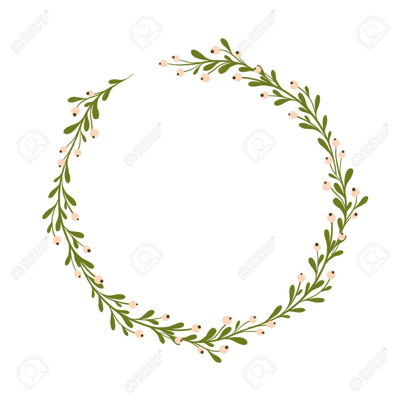 Cute And Gentle Handsketched Mistletoe Wreath Seasonal Background 1300x1300