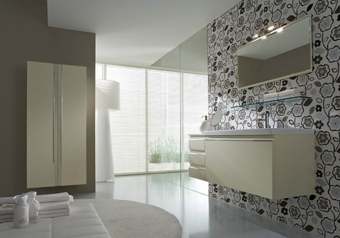 Modern style bathroom made with waterproof wallpaper and mirrored wall 1440x1010