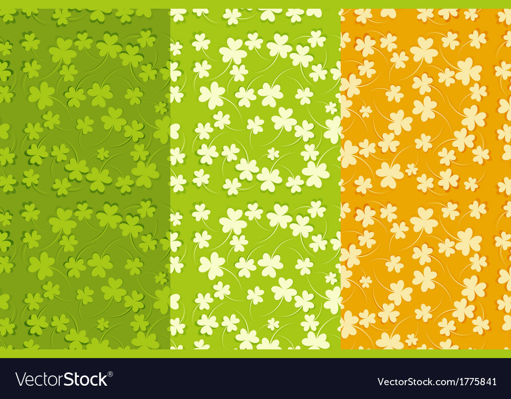 St Patricks Day Seamless Backgrounds Set Vector Image 1000x780
