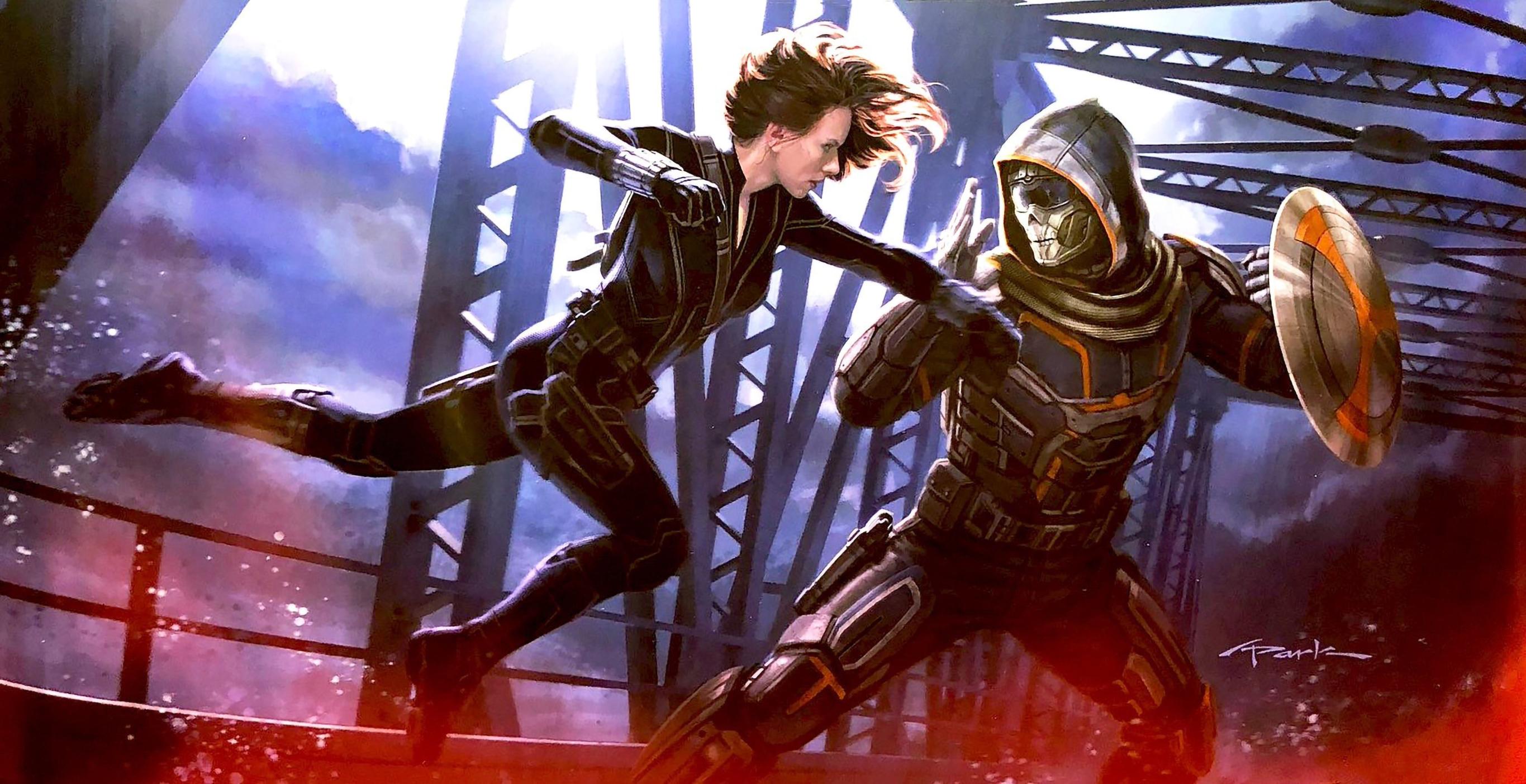 Black Widow vs Taskmaster Art Wallpaper HD Movies 4K Wallpapers 2731x1404