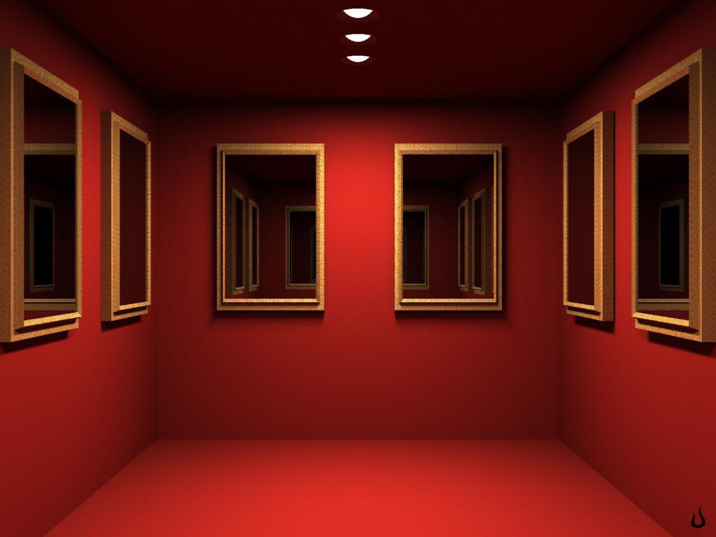 1024x768 Red Mirrored Room desktop PC and Mac wallpaper 1024x768