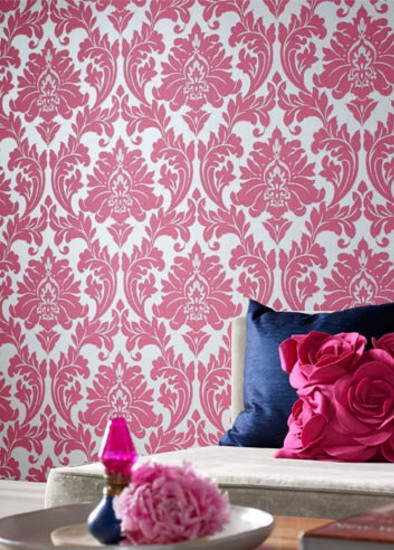Pink Damask Wallpaper   Contemporary   Wallpaper   by Graham Brown 394x550