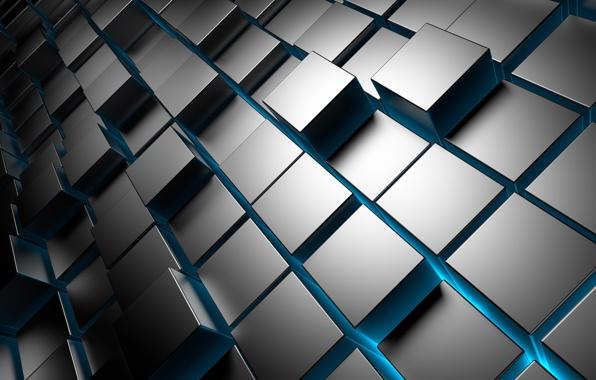 Wallpaper 3d cubes metal chrome brick square cubes wallpapers 596x380