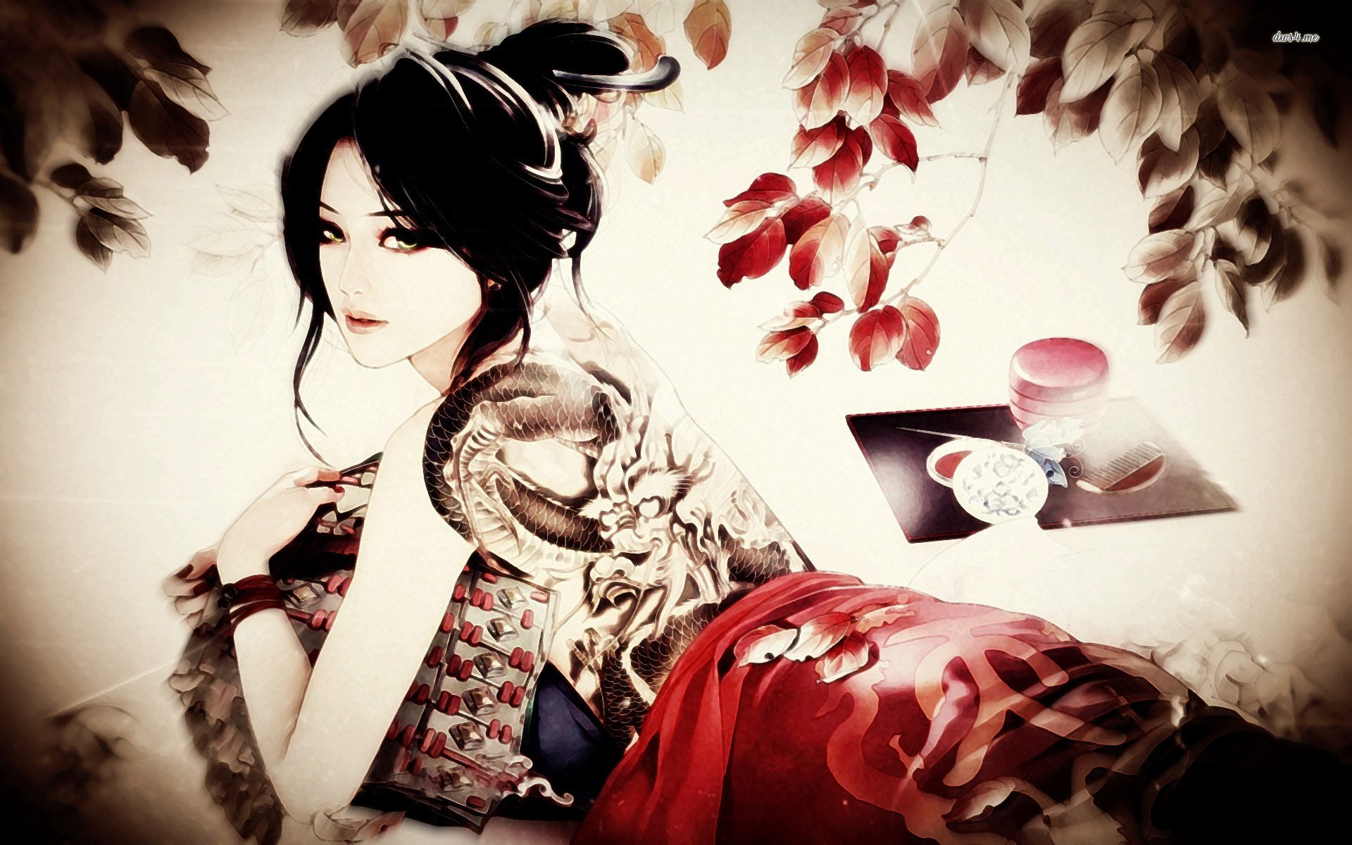 Tattooed geisha wallpaper   Artistic wallpapers   17683 1920x1200
