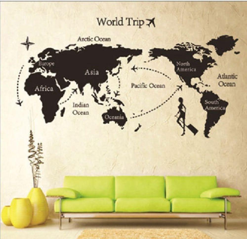 Free Download World Map Removable Pvc Vinyl Wallpaper Roll Sticker