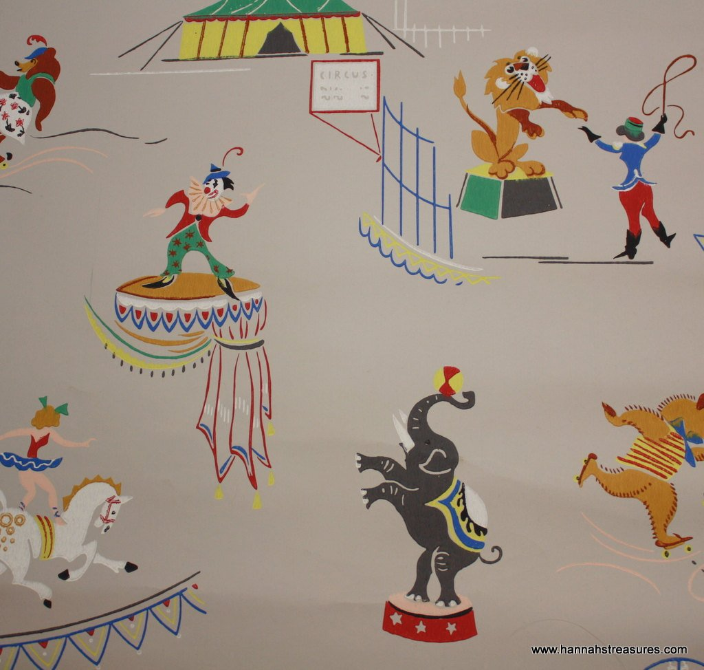 Free Download 1940s Vintage Circus Wallpaper For Nursery By