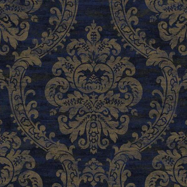 Sample Grand Palais Wallpaper in Blue and Gold by Ronald Redding for Y 600x600