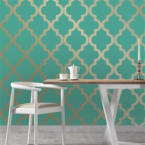 Moroccan Trellis Global Bazaar Jade Gold Removable Wallpaper Removable 500x500