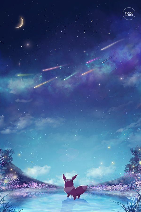 beautiful phone wallpaper background of eevee ad a galaxy filled 600x900