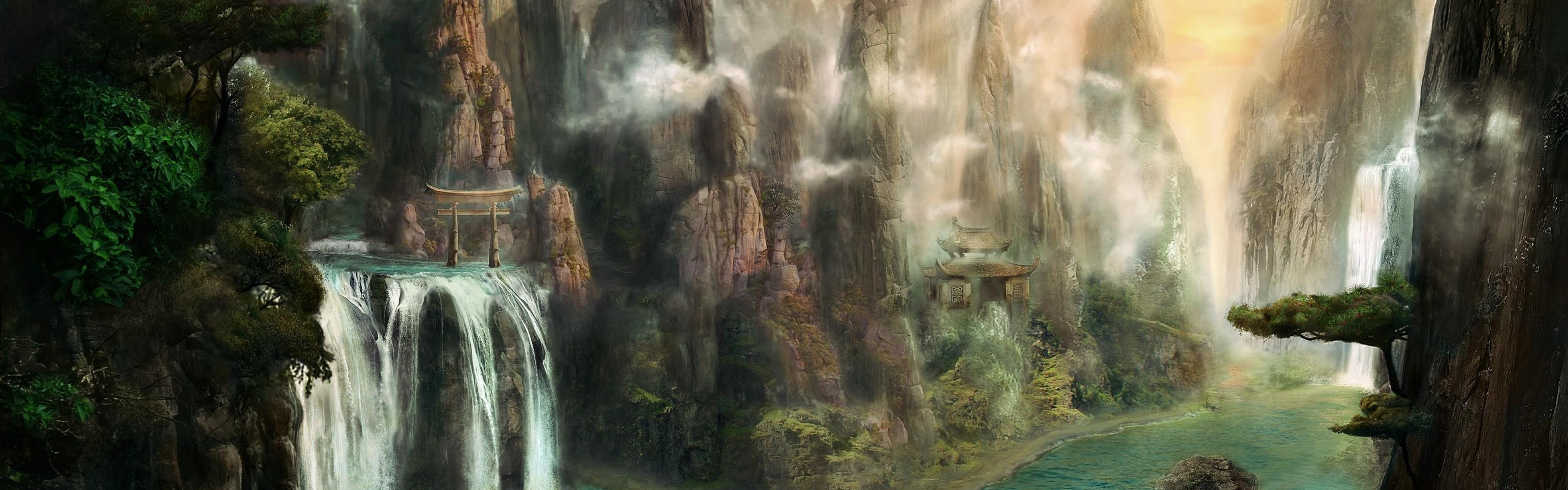 3840x1200 Wallpaper cliffs waterfalls mist nature 3840x1200