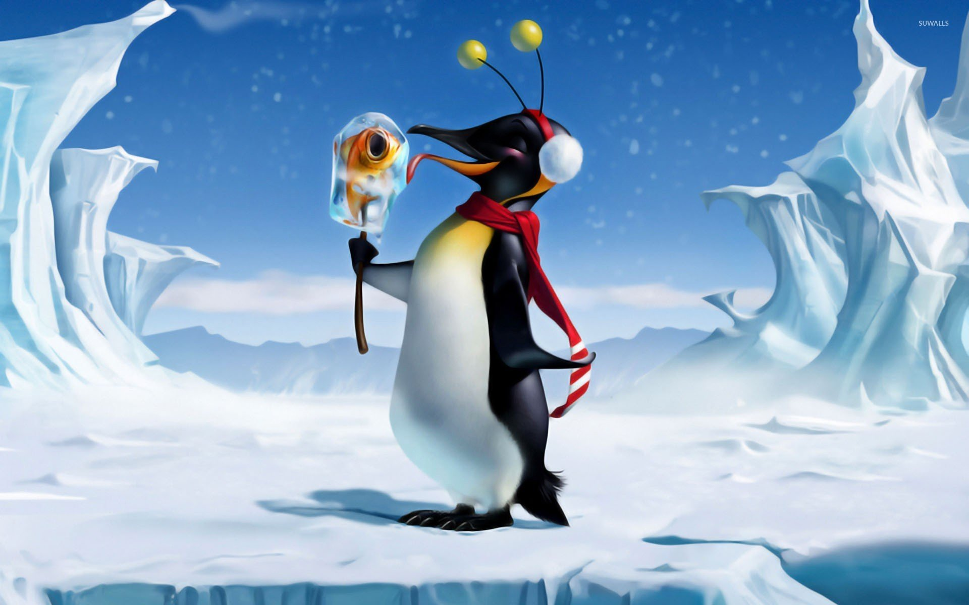 Happy penguin with fish ice cream wallpaper   Funny wallpapers 1920x1200