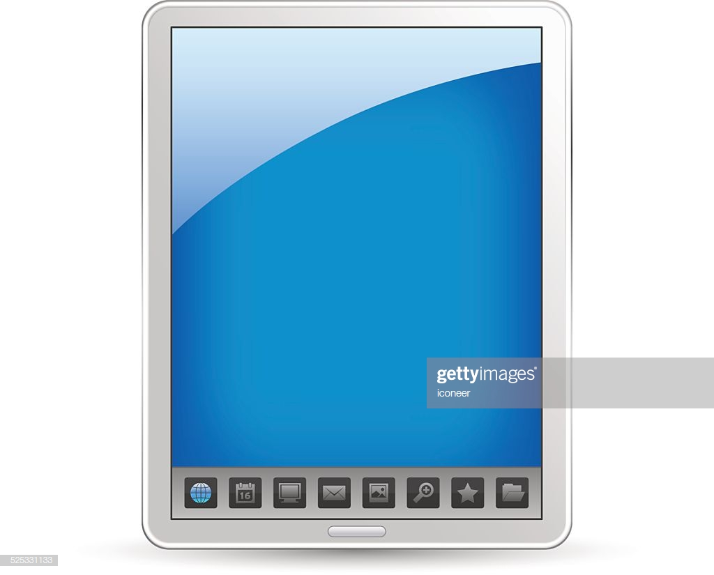 Tablet Pc With Icon Toolbar On White Background Vector Art Getty 1024x825