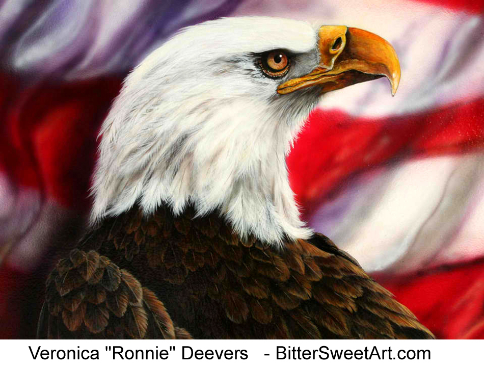 eagle with the furled american flag background airbrushed by veronica 950x720