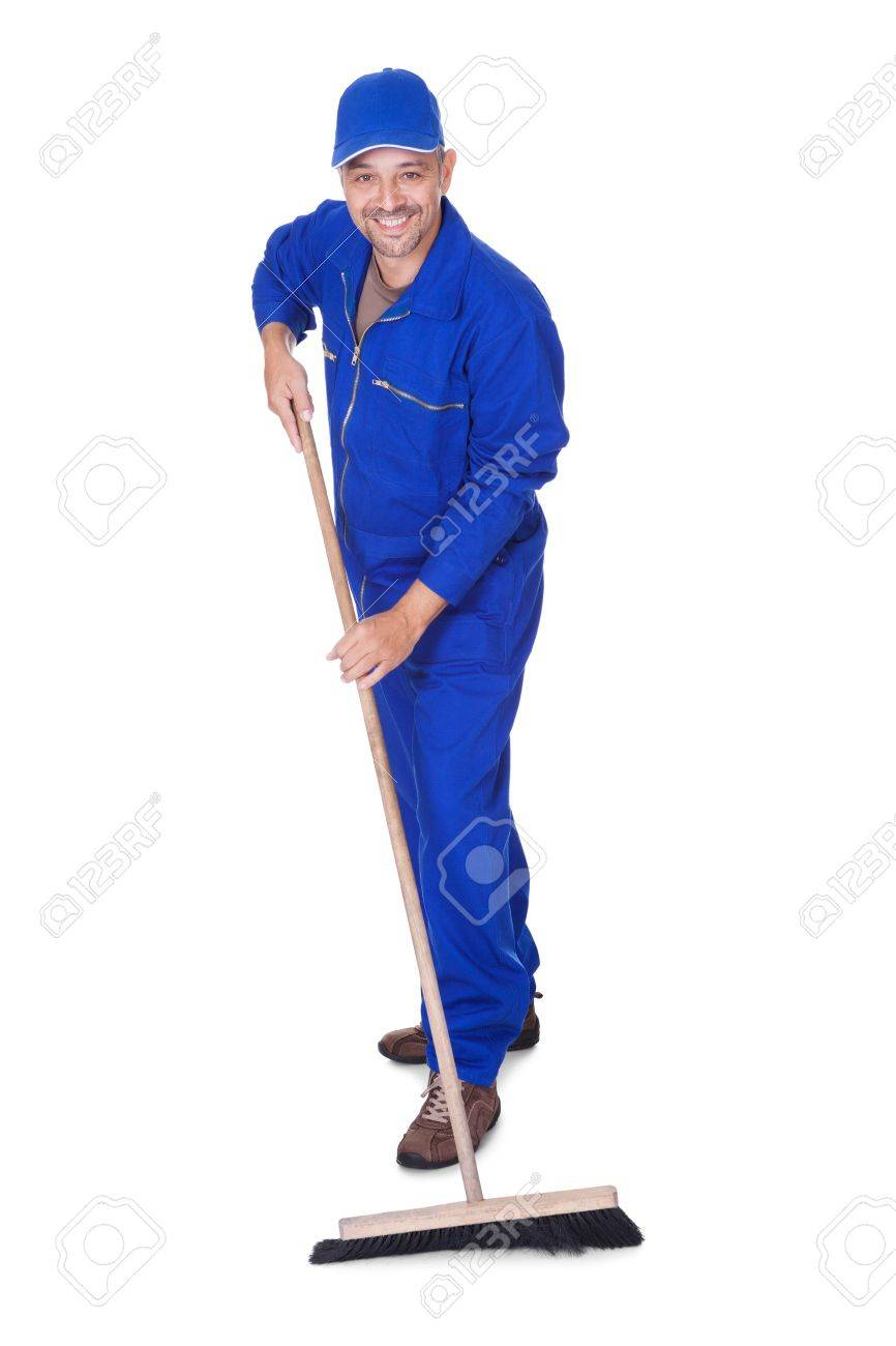 Happy Sweeper Cleaning Floor On White Background Stock Photo 866x1300