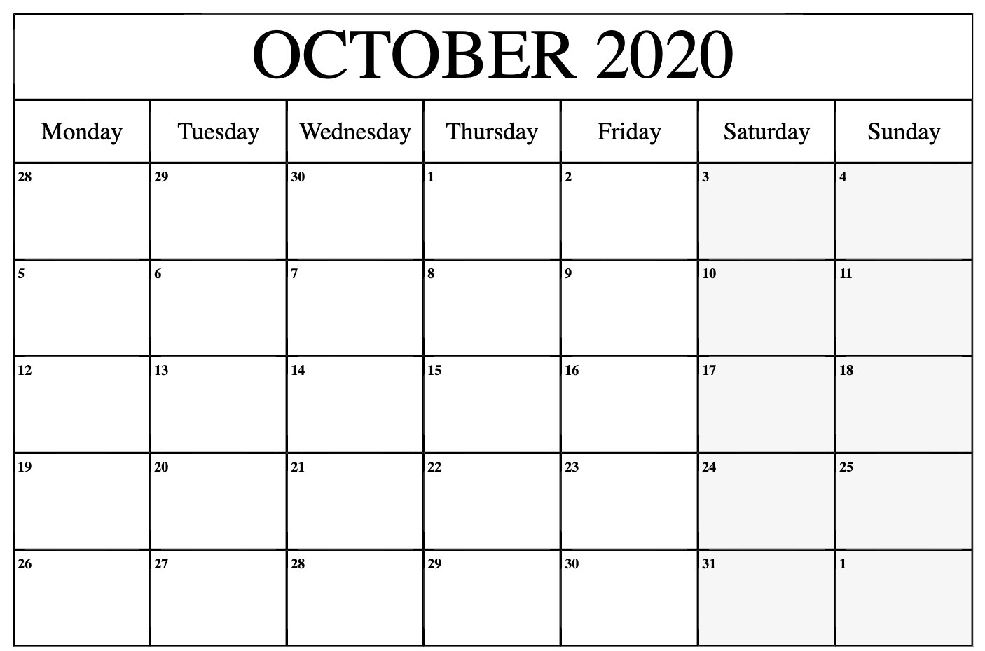 October 2020 Calendar PDF Word Excel Printable Template 1406x929