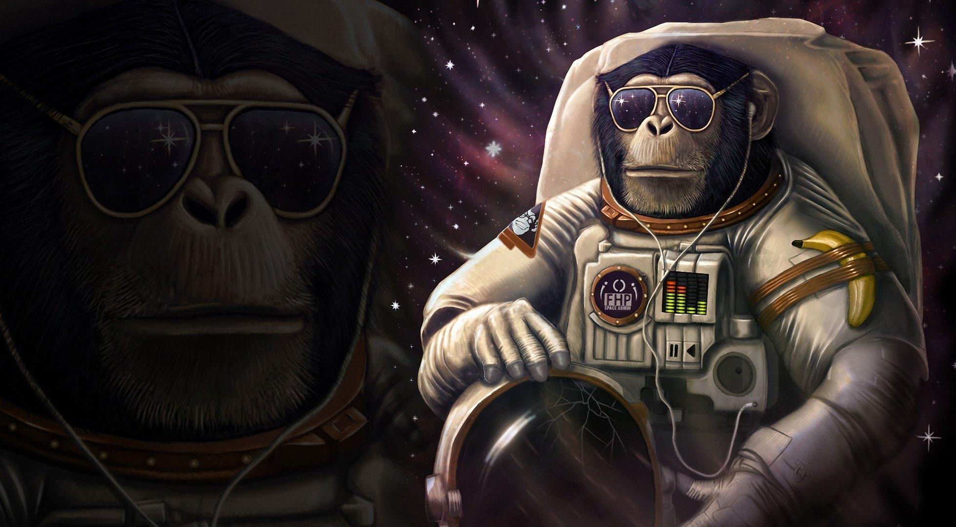 Monkey astronaut Glasses Helmet Fantasy Animals Space 1957x1080