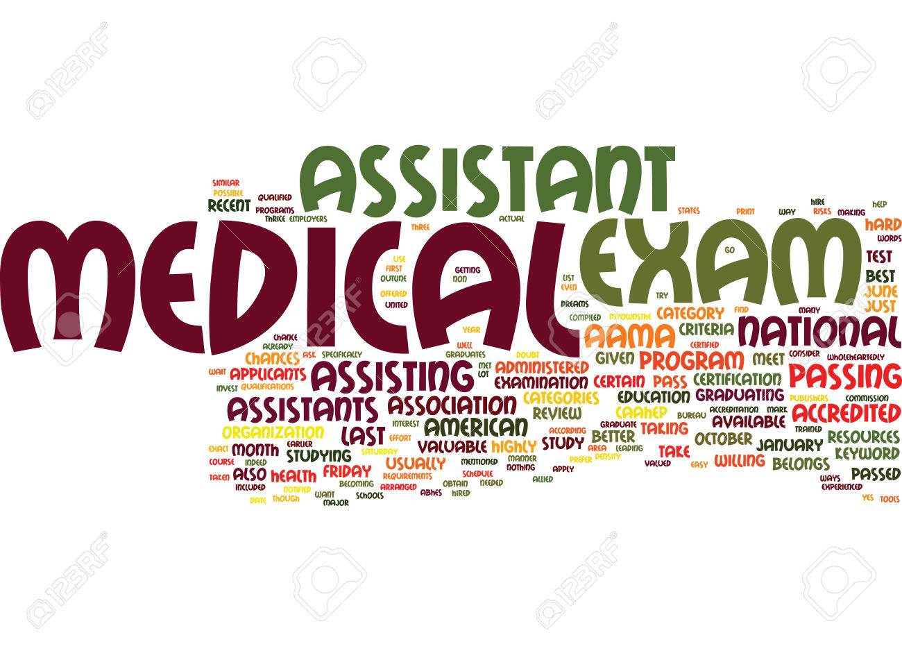 MEDICAL ASSISTANT EXAM Text Background Word Cloud Concept Royalty 1300x938