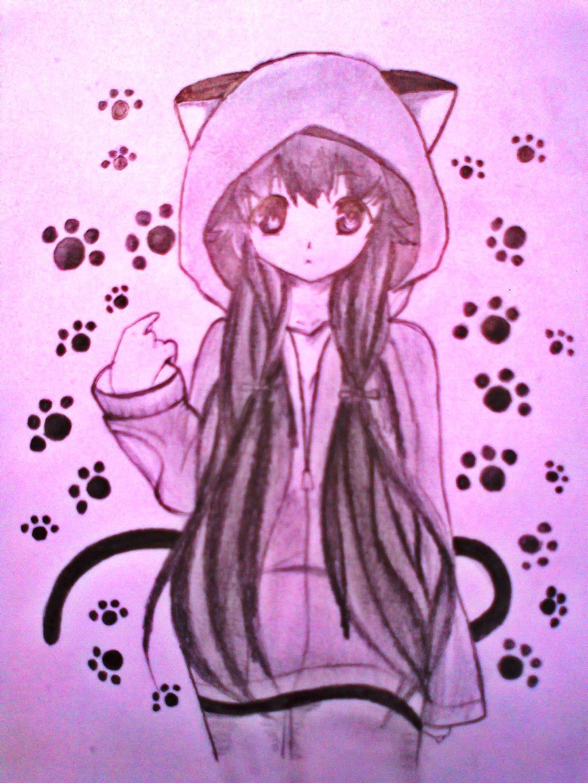 Cute anime cat girl by xinje manga anime traditional media drawings