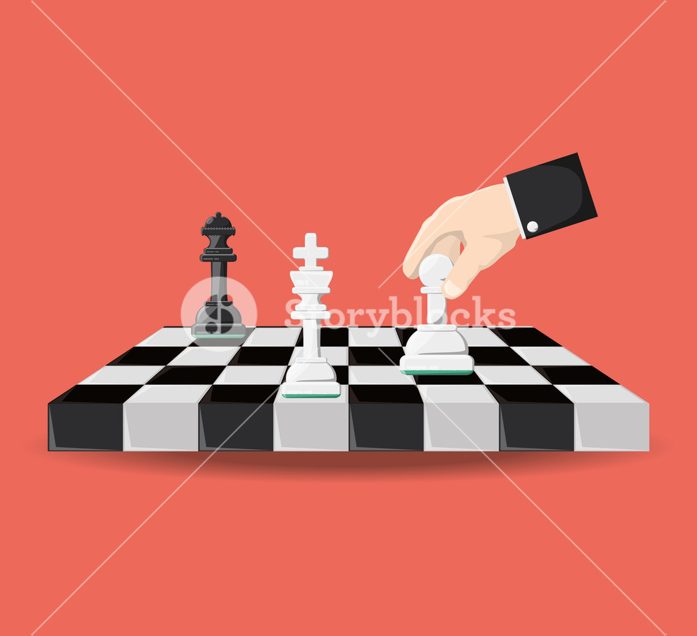 hand holding a pawn of the chess board over red background 1000x912