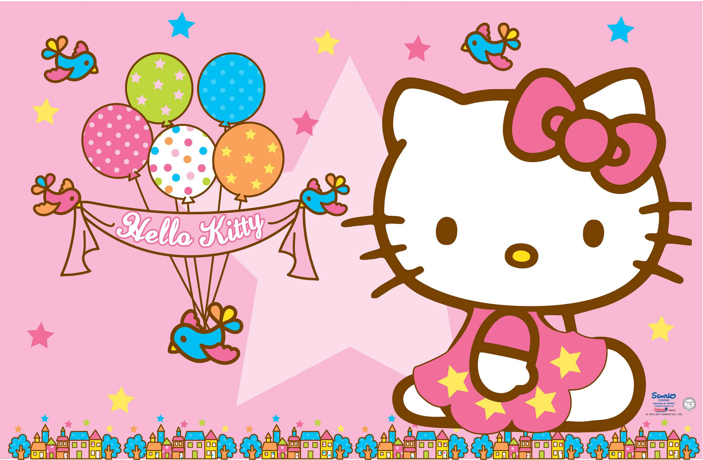 Hello Kitty Wallpaper   Pink Background and Balloons for Birthday 2448x1600