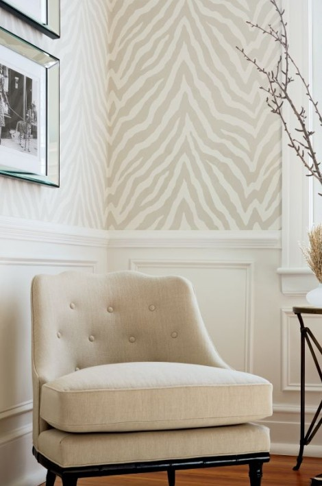 Thibaut Etosha zebra print wallpaper and Brentwood Chair from Thibaut 470x709
