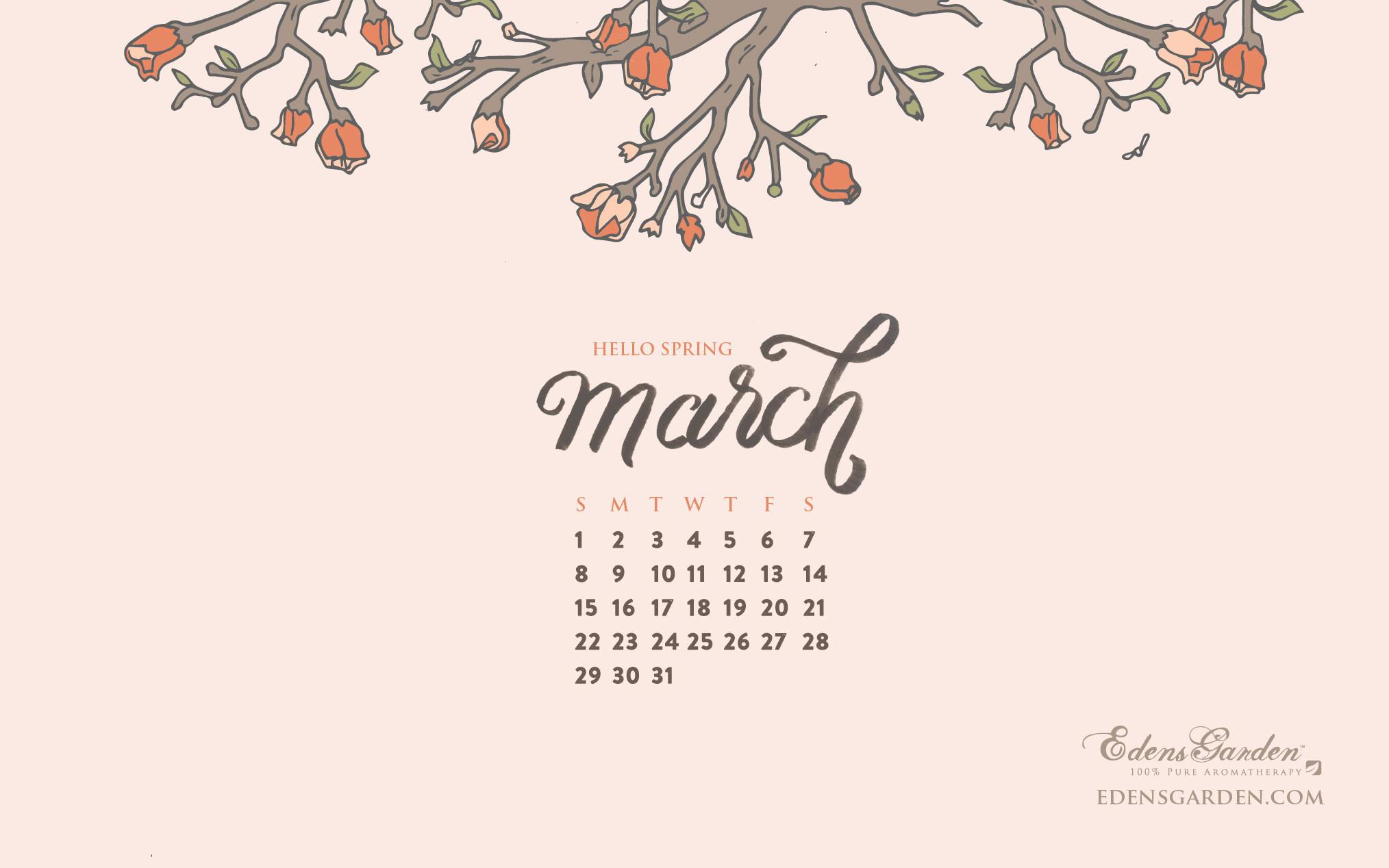 Download March 2015 Desktop Wallpaper Calendar Edens Garden 2028x1268