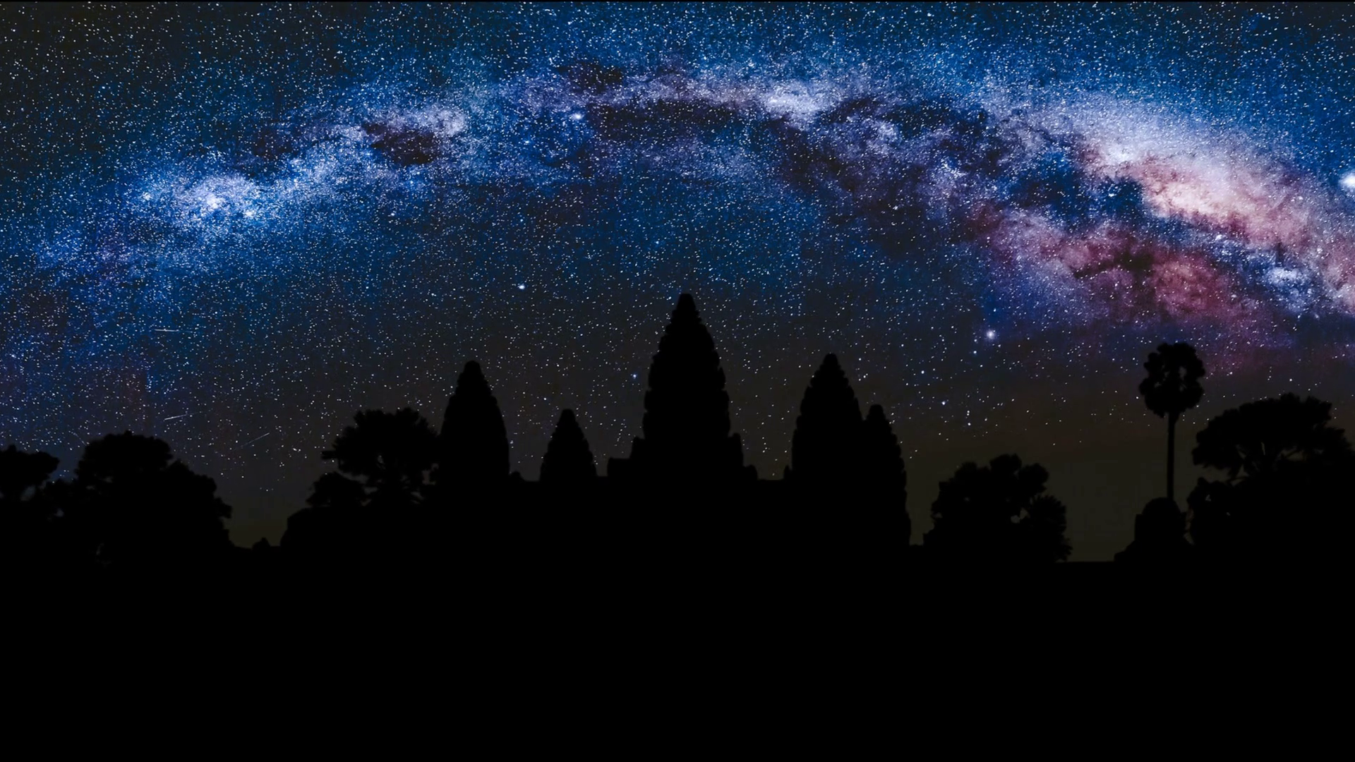 Angkor Wat at night with amazing Milky Way in the background Siem 1920x1080