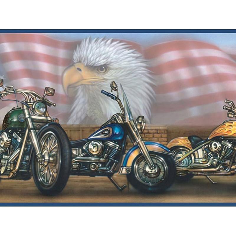 Bruce Blue Americana Motorcycles Portrait Border   Discount 800x800