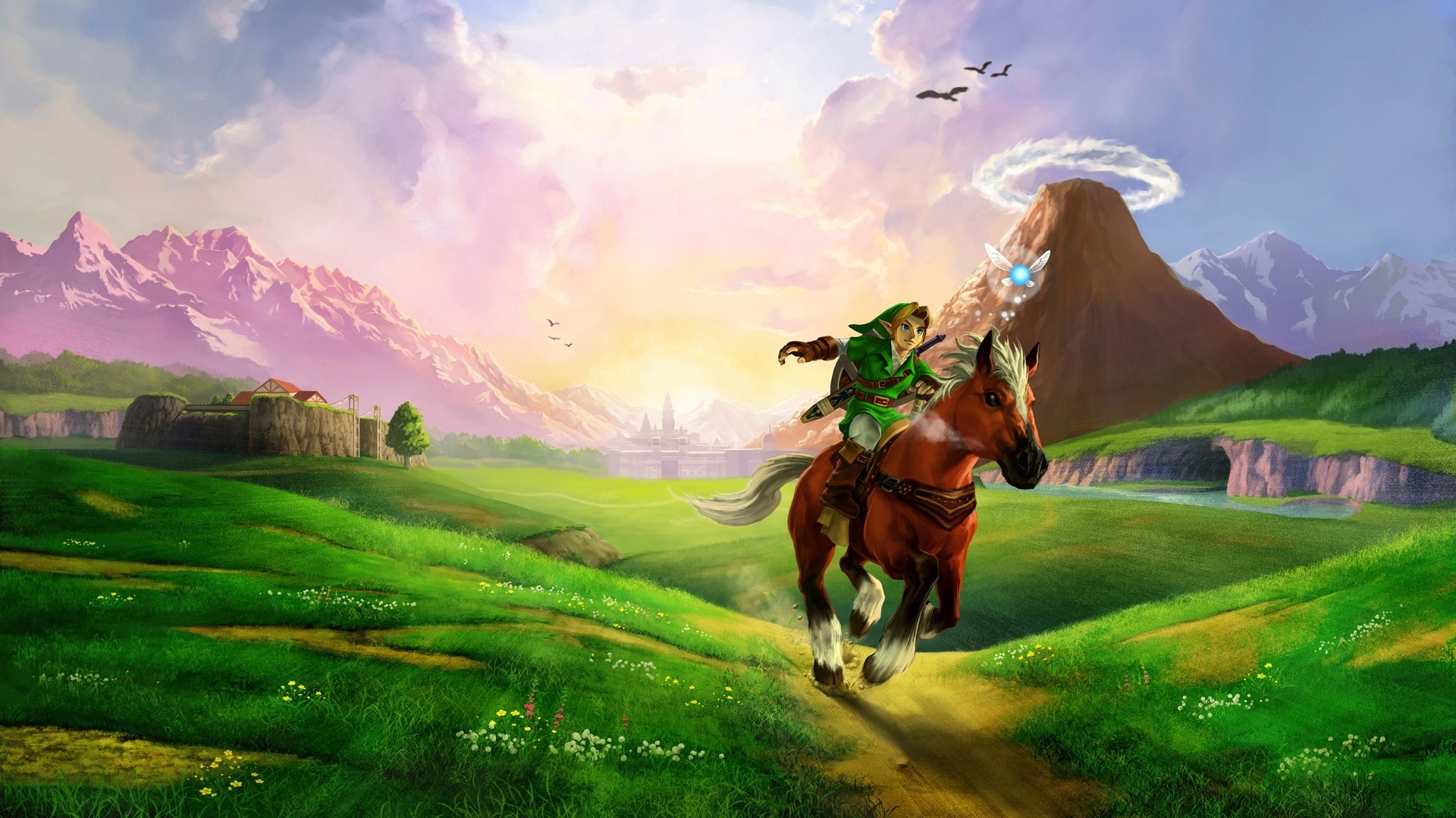 Wallpaper the legend of zelda horse plain river sunlight zelda 1920x1080