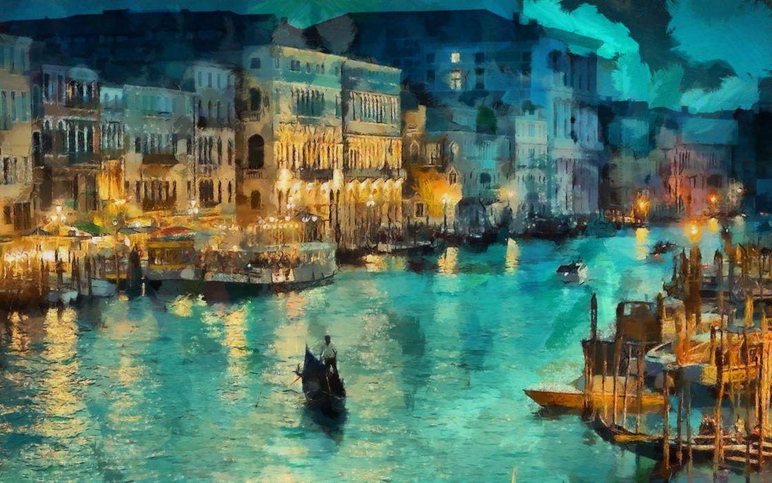 Night canal lights house venice art gondola italy painting 1120x700