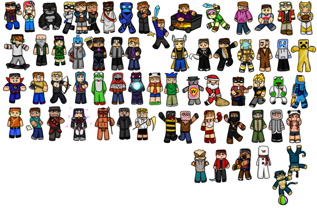 download Minecraft Chibis Youtubers by GoldSolace [1103x724 1103x724