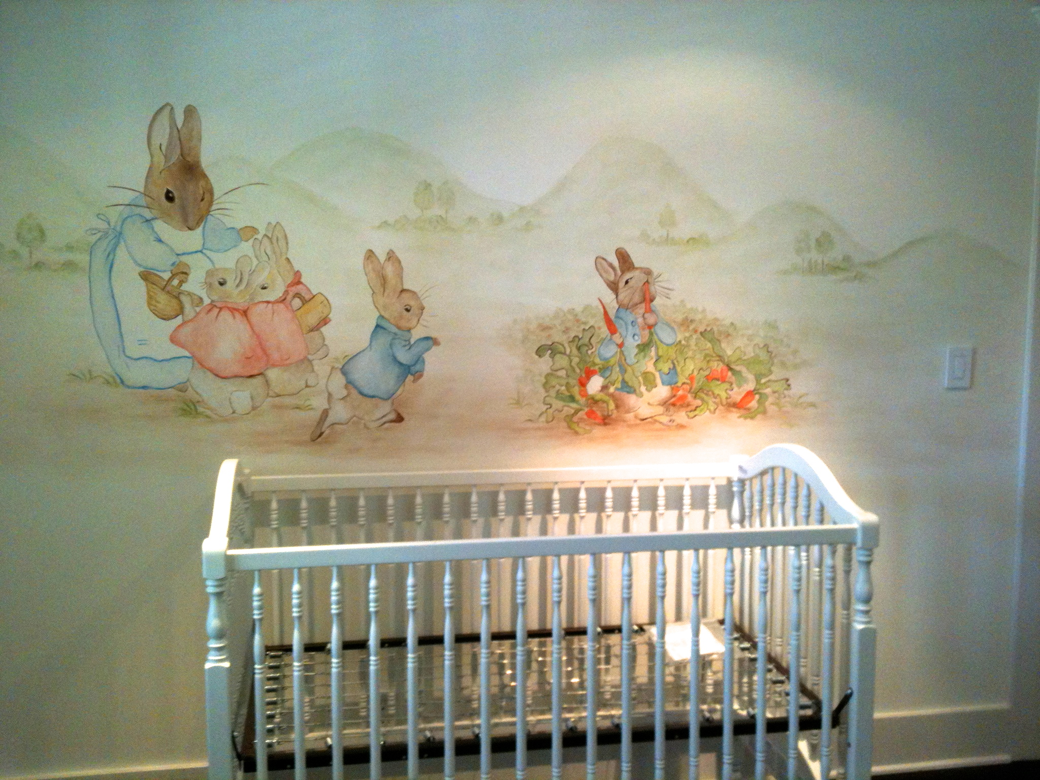 Peter rabbit wallpaper wallpapersafari for Baby girl nursery mural