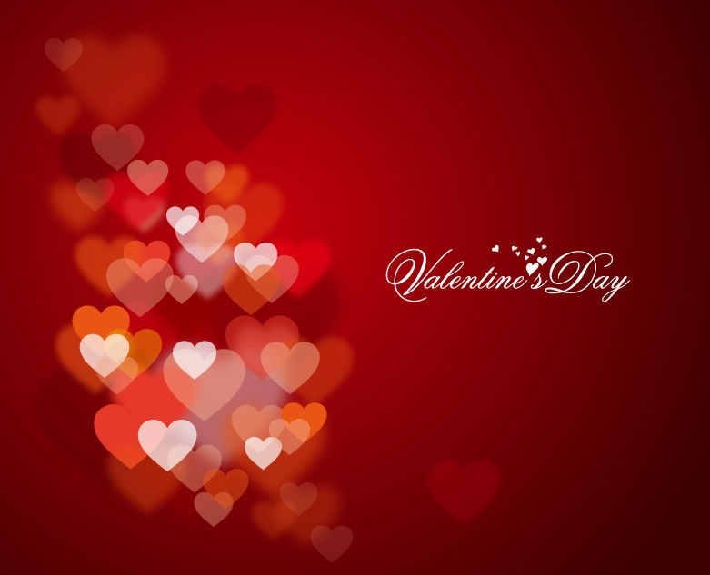 Happy Valentines Day with Lights and Hearts in Background 781x633