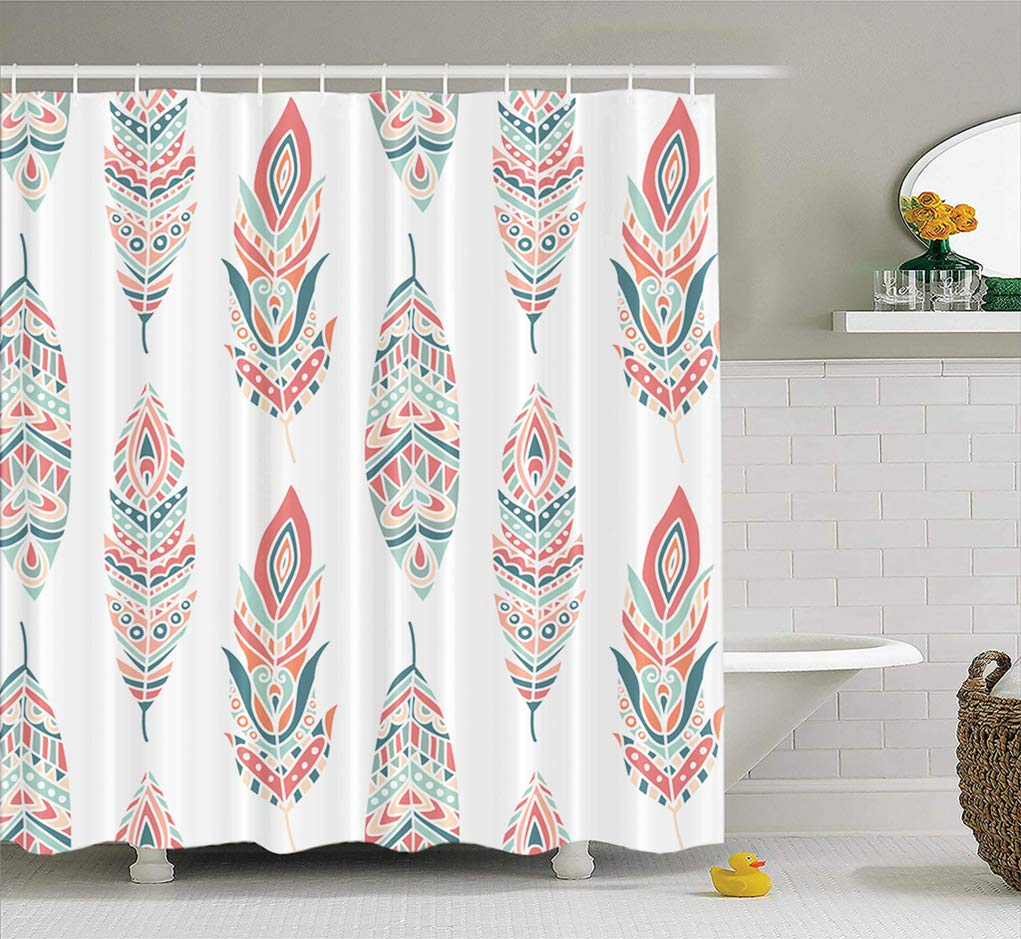 Amazoncom Summor Aztec Pattern Fabric Shower Curtain with Ethnic 1021x939