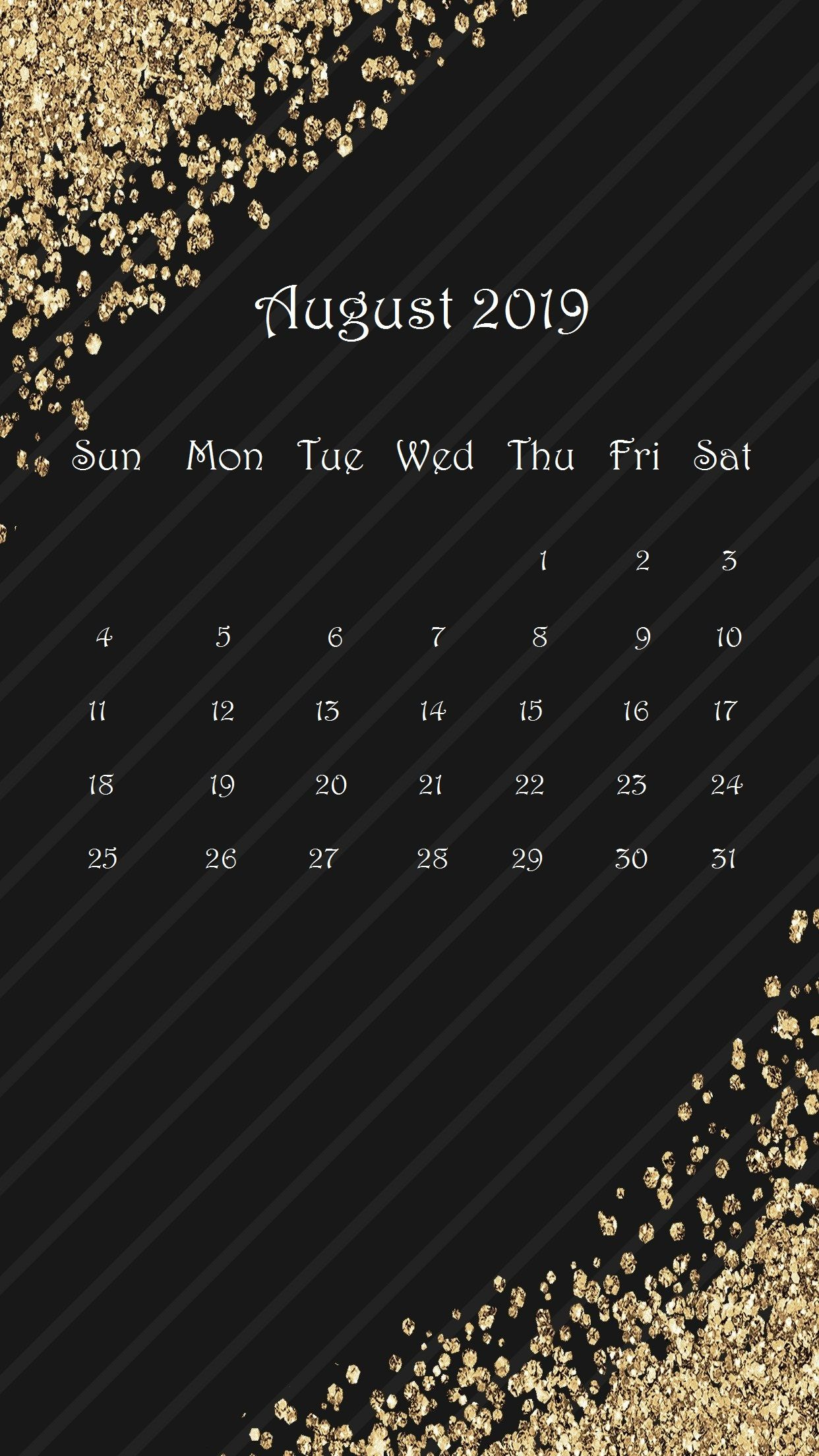 Gorgeous Gold And Black August 2019 iPad Calendar Homemaking in 1242x2208