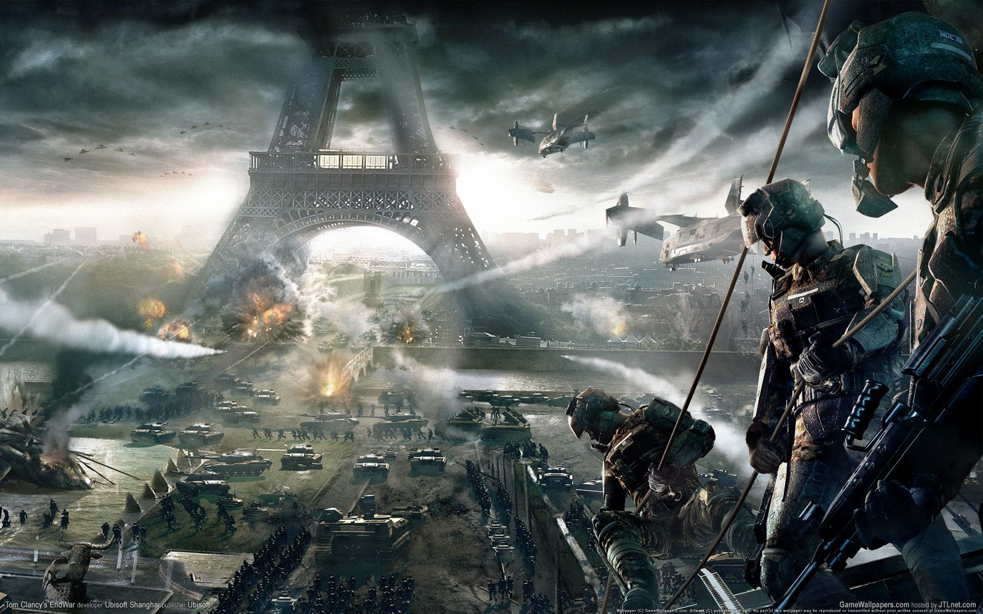 Tom clancy s end war soldiers paris tanks eiffel tower the 1920x1200