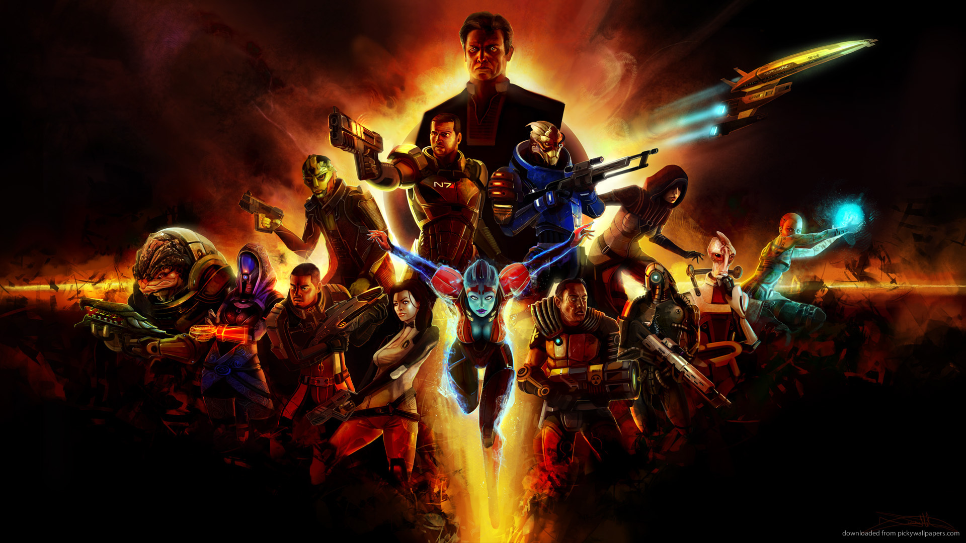 Mass Effect 2 Characters Fire Collage Screensaver For Amazon Kindle 3 1920x1080