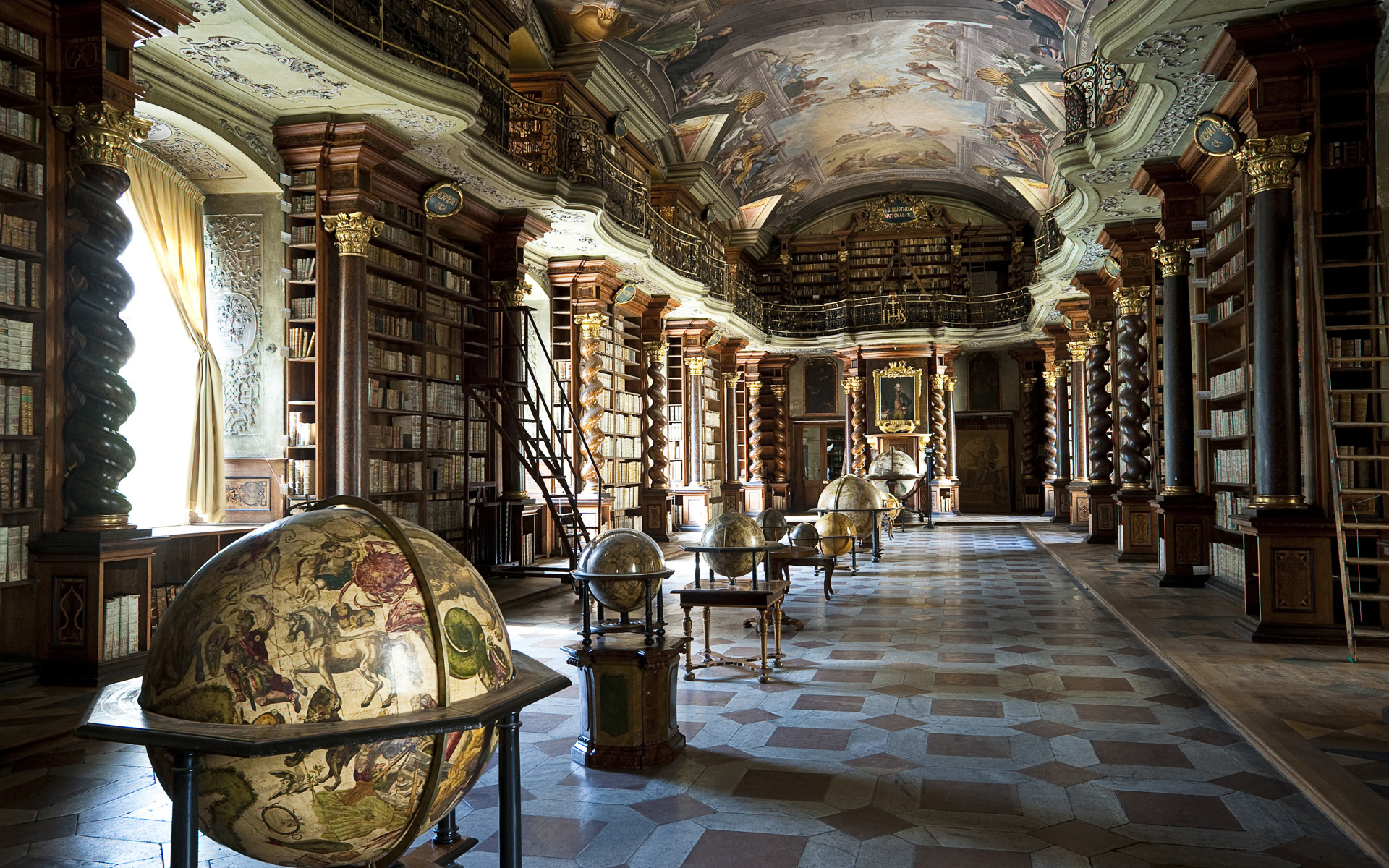 library books columns ceiling painting sculpture globes room rooms 1920x1200