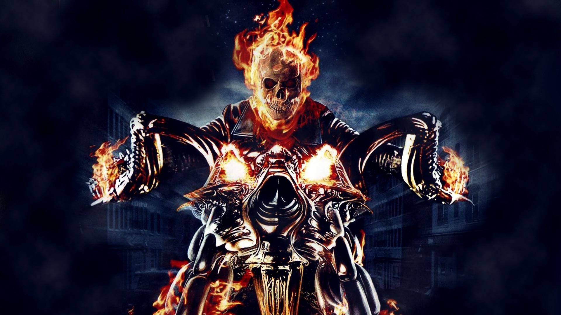Ghost Rider Skull Fire Motorcycle Comics Graphic 1920x1080