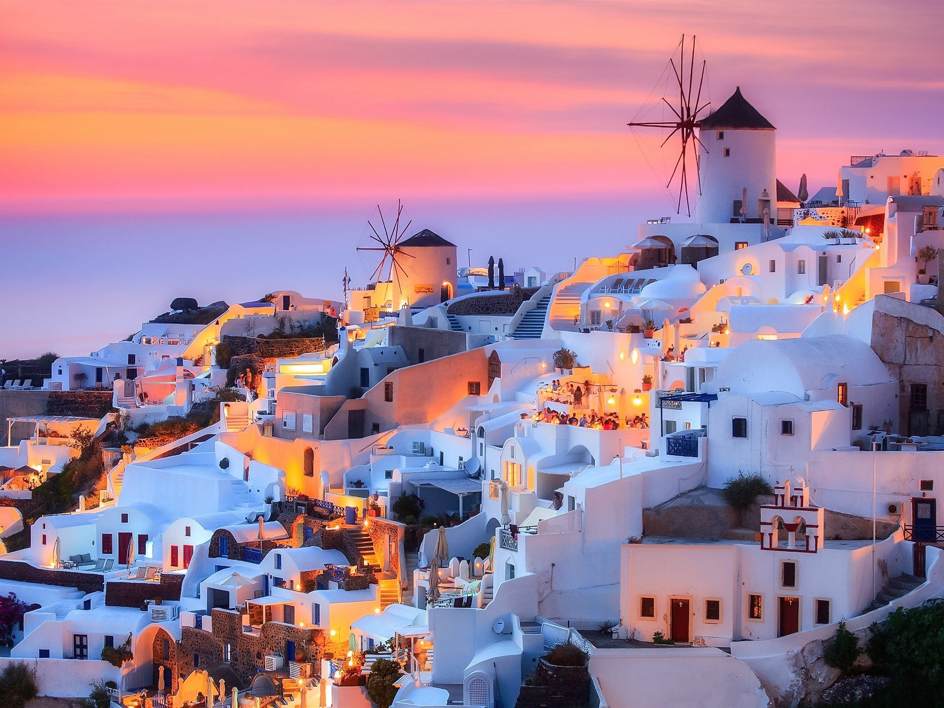 Wallpaper Greece Santorini island dusk houses lights 1920x1440