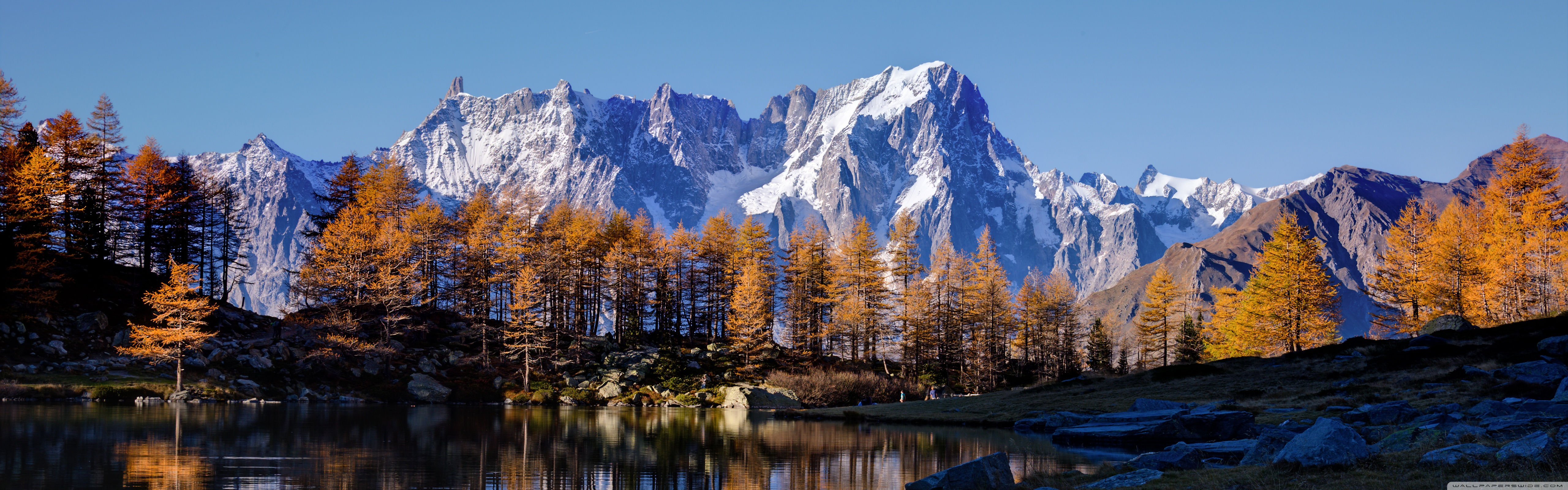 Mont Blanc Autumn 4K HD Desktop Wallpaper for Dual Monitor 5120x1600