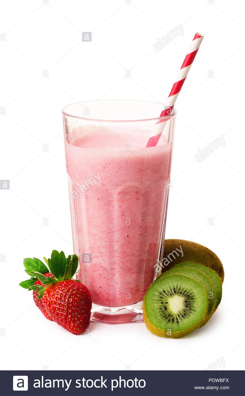 Pink smoothie with strawberry yogurt kiwi isolated on a white 861x1390