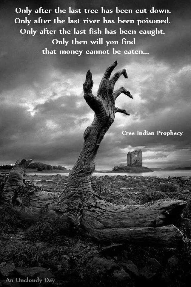 Cree Indian prophecy Quotes Zombie wallpaper Gothic wallpaper 640x960