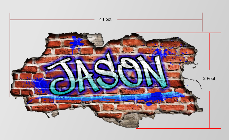 Custom Graffiti Name Personalized Brick Wall Art Bedroom Wallpaper 800x492