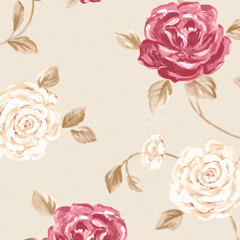 Fleur Floral Wallpaper in Beige and Red at GoWallpaper UK 800x800